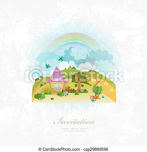 vintage invitation card with rural scenery - csp29869596