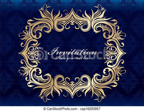 Vintage invitation frame design - csp16293957