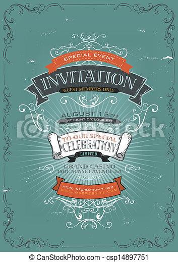 Vintage Invitation Poster Background - csp14897751