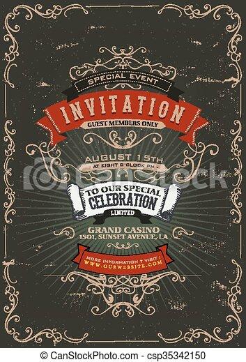 Vintage Invitation Poster Background - csp35342150