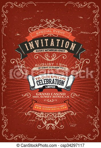 Vintage Invitation Poster Background - csp34297117