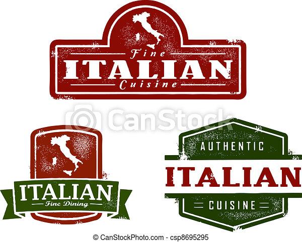 Vintage Italian Food Graphics - csp8695295