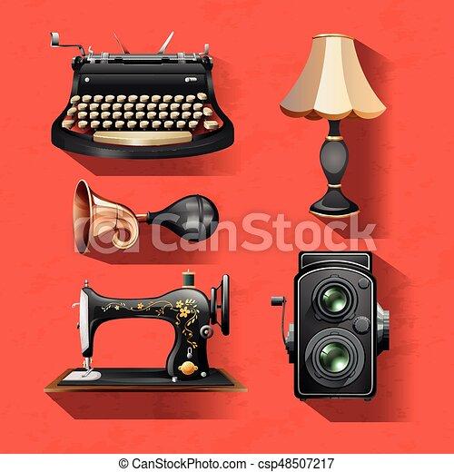 Vintage items on red background illustration.