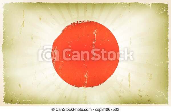 Vintage Japan Flag Poster Background - csp34067502