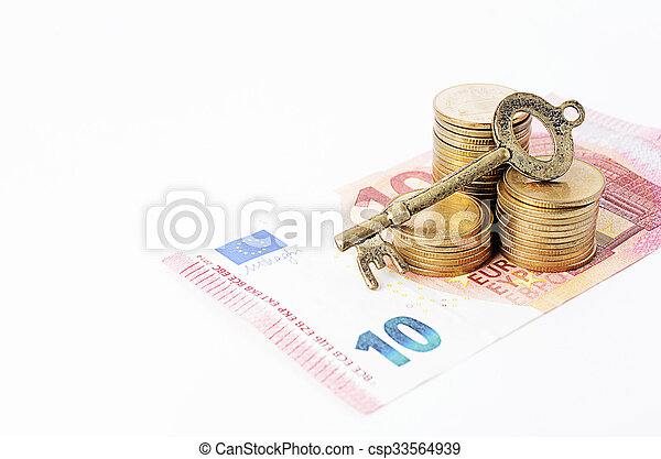 Vintage key with coins stack and euro banknote on white backgrounds - csp33564939