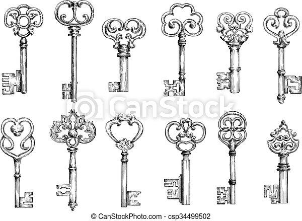 Vintage keys sketches in engraving style - csp34499502