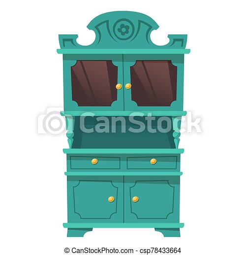 Vintage Kitchen Cupboard In Baroque Style Kitchen Cupboard In Baroque Style With Shelves And Glass Doors Vector Vintage Canstock