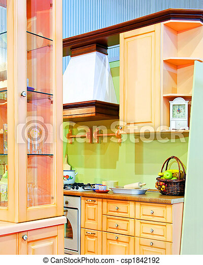 Vintage kitchen. Interior of vintage style kitchen in pastel colors .