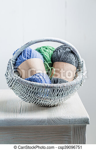 Vintage knitted scarf made of colored wool - csp39096751