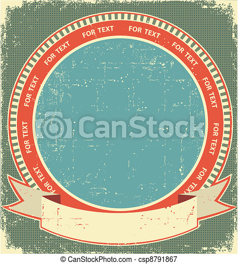 Vintage label background on old paper for design - csp8791867
