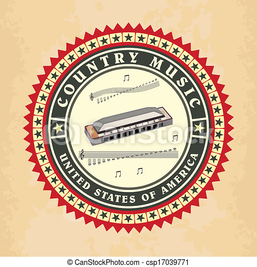 Vintage label country music vector - csp17039771