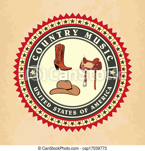 Vintage label country music vector - csp17039773