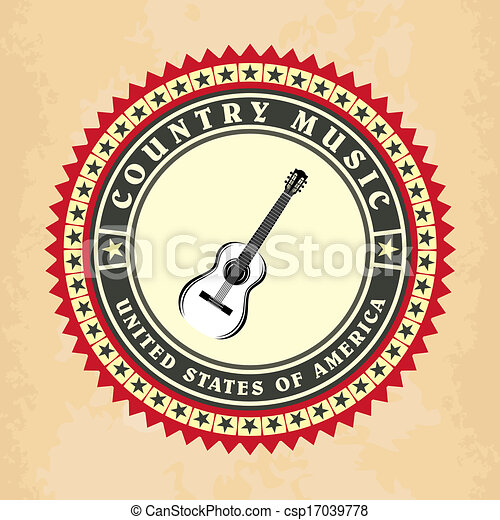 Vintage label country music vector - csp17039778