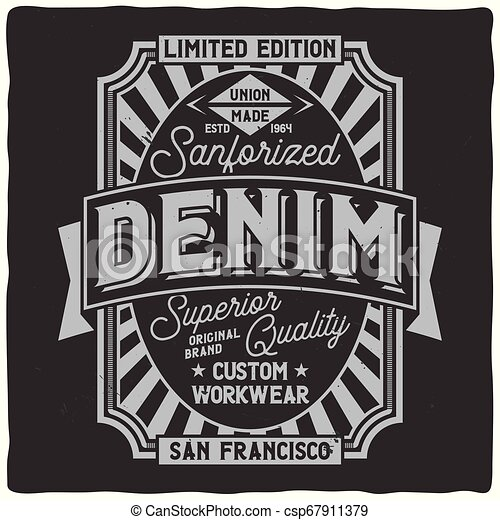 Vintage Label Design With Lettering Composition On Dark Background T Shirt Design Canstock