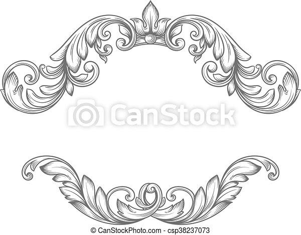 Vintage label frame design elements in victorian style for ...