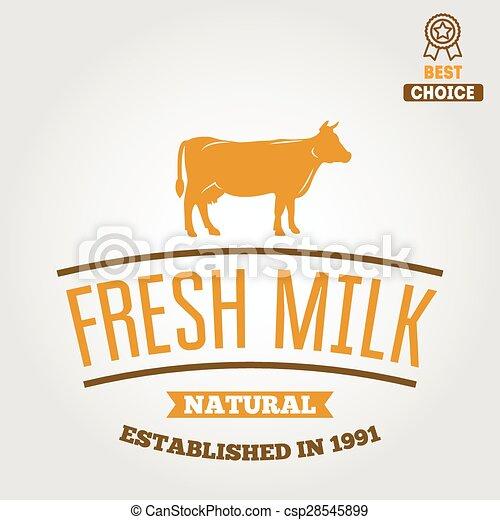 Vintage label, logo, emblem template of milk on background - csp28545899