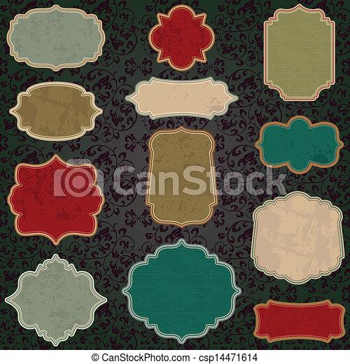 vintage label set - csp14471614