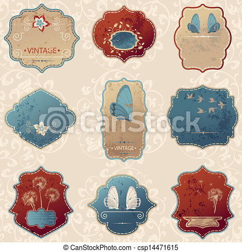 vintage label set - csp14471615