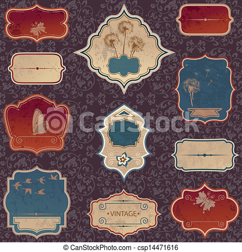 vintage label set - csp14471616