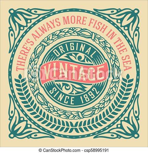 Vintage label with floral elements - csp58995191