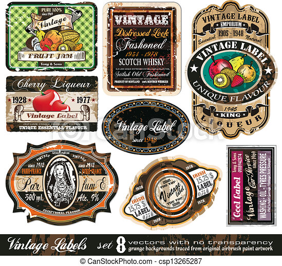 Vintage Labels Collection -Set 8 - csp13265287