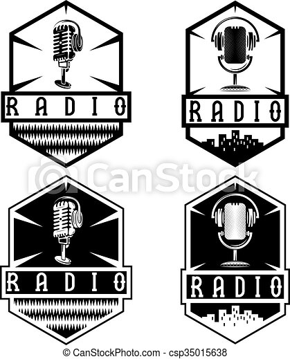 vintage labels of radio with microphone and headphones  - csp35015638