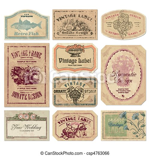 vintage labels set (vector) - csp4763066