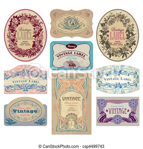 vintage labels set (vector) - csp4499743