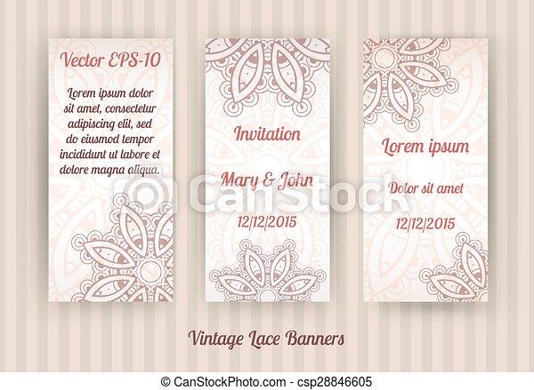 vintage lace banner templates - csp28846605