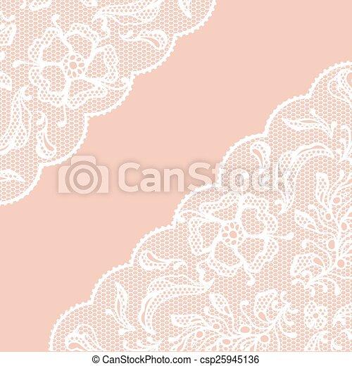 Vintage lace frame, ornamental flowers - csp25945136