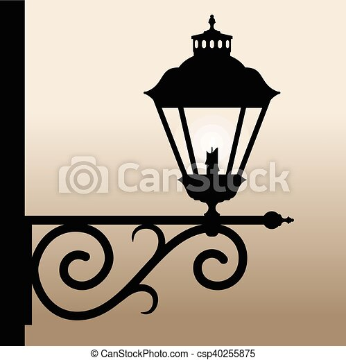 Vintage Lantern Silhouette Of An Old With A Candle Vector