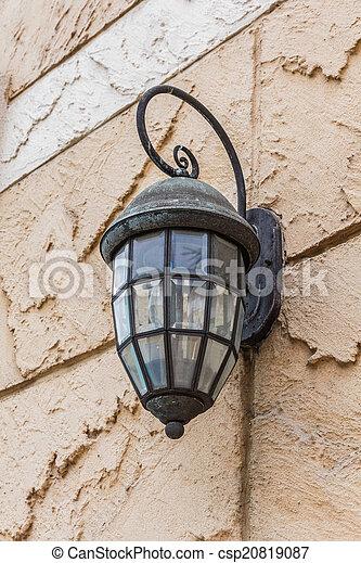Vintage lantern on a wall - csp20819087