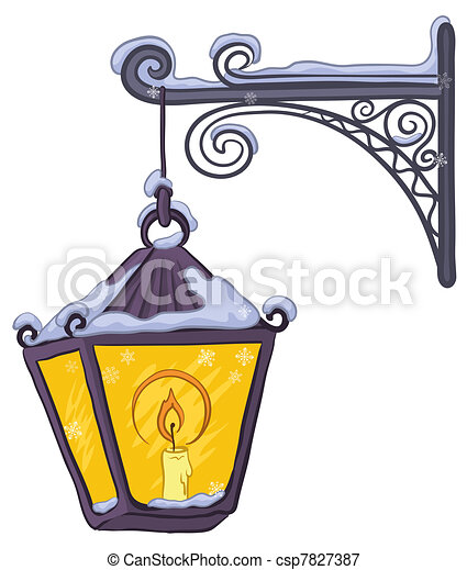 Vintage Lantern Vintage Street Lamp Glowing In The Snow Hanging On