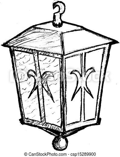 Hand Drawn Sketch Cartoon Illustration Of Vintage Lantern