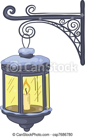 Vintage Lantern Street Lamp Glowing In The Snow Hanging On