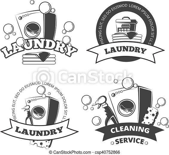 Vintage Laundry Service Dry Clean Vector Labels Emblems Logos Badges Set