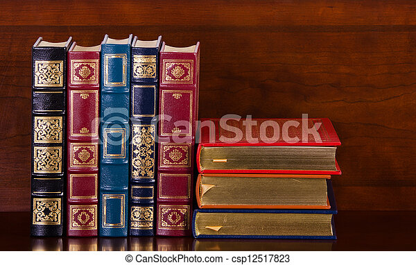 Vintage leather books - csp12517823