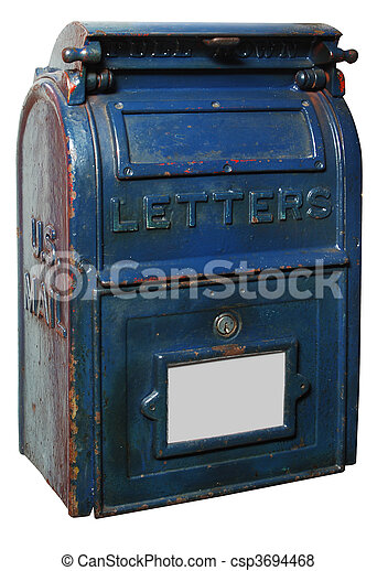 Vintage letter box. Vintage us mailbox painted blue with chipped