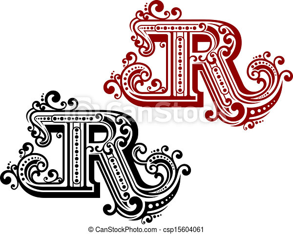 Vintage Letter R With Ornamental Elements In Retro Style