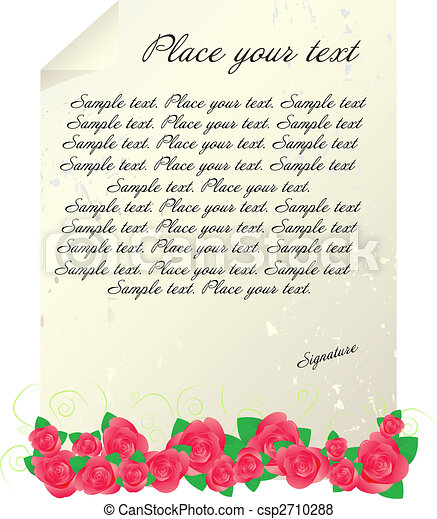 Vintage letter template with red roses