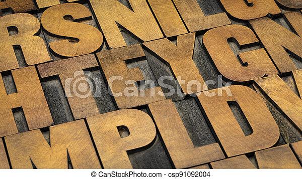 vintage letterpress wood type printing blocks - csp91092004