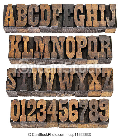 vintage letters and numbers - csp11628633