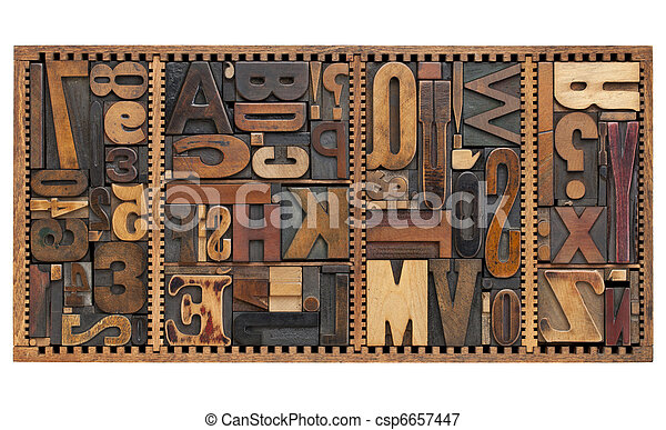 vintage letters, numbers and punctuation signs - csp6657447