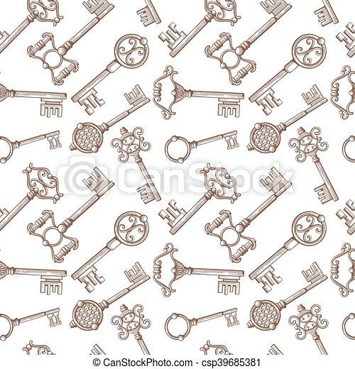 Vintage Lock And Key Vector Seamless Pattern