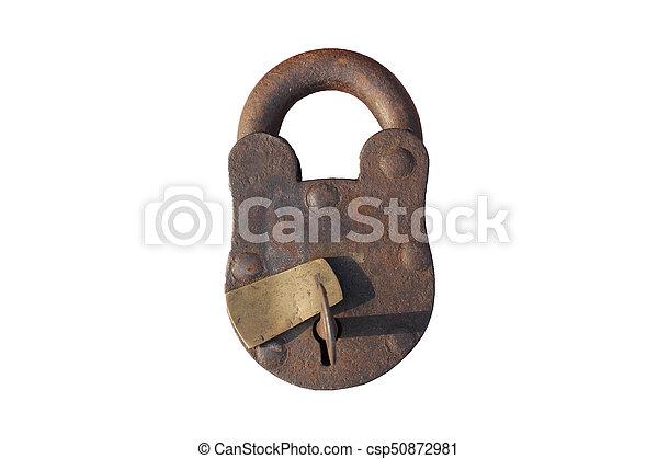 vintage lock on isolated - csp50872981