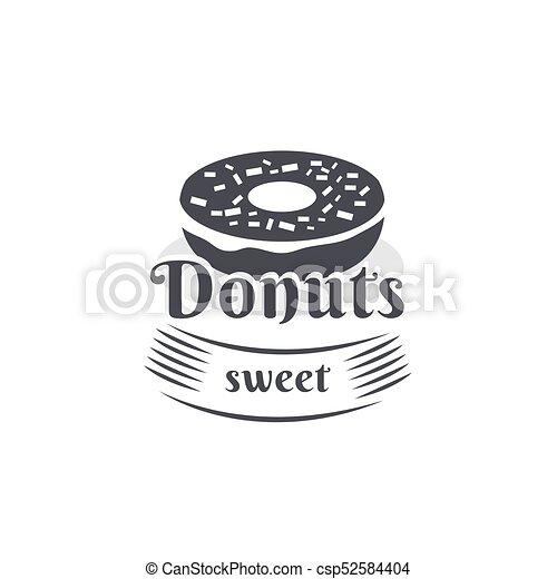 Vintage logo donut. Vector vintage logo donut. retro bakery label ...