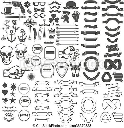 Vintage logo elements - csp36379838