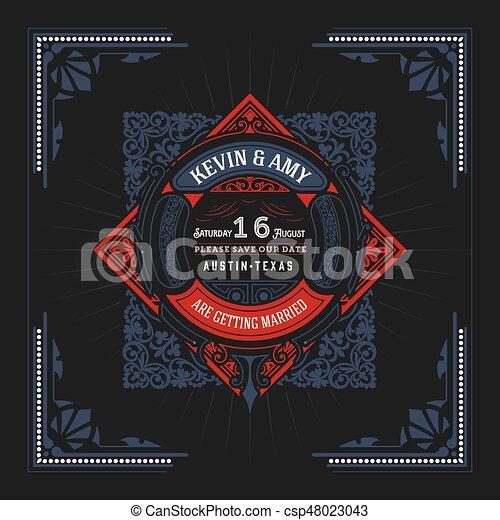 Vintage logo with floral ornaments - csp48023043