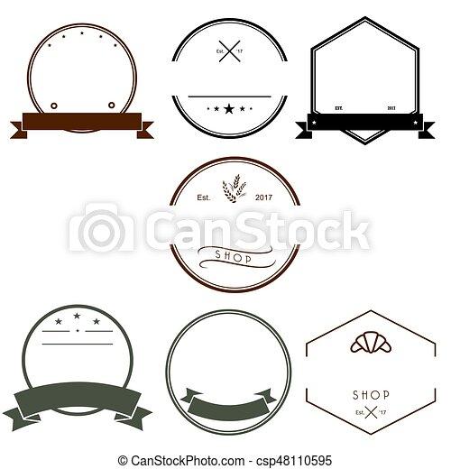 Vintage Logos Design Templates Set. Empty Logotypes Collection, Icons Symbols, Retro Labels, Badges Vector. - csp48110595