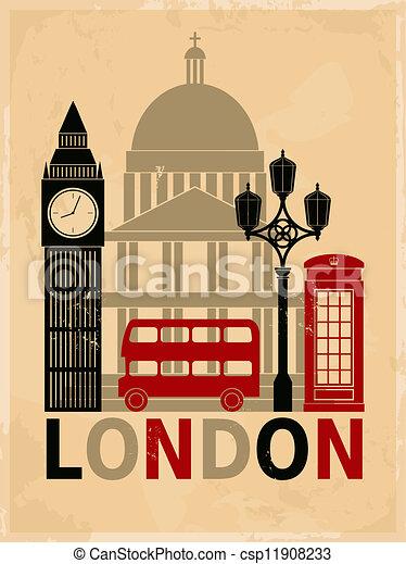 Vintage London Poster - csp11908233